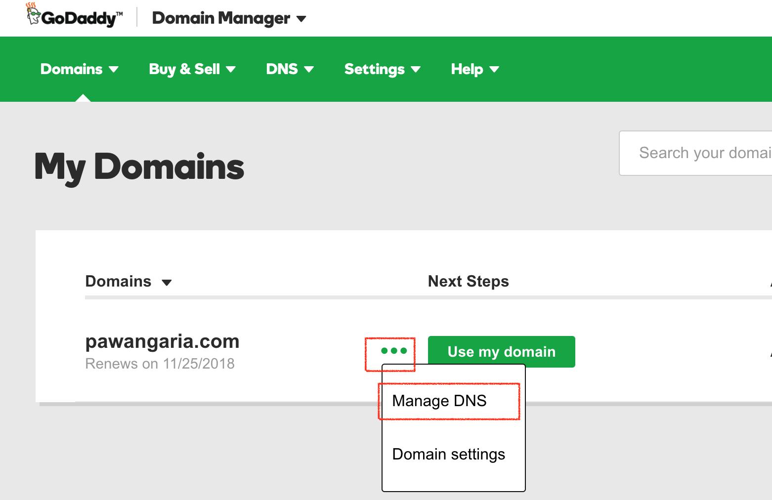 godaddy-manage-domain-dns
