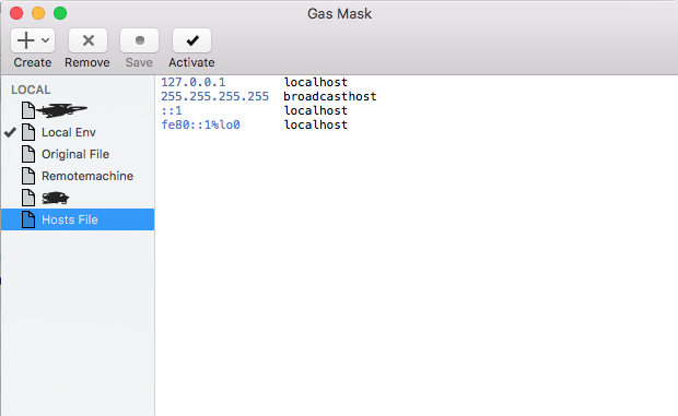 Editing Host file using GasMask on Mac OS X