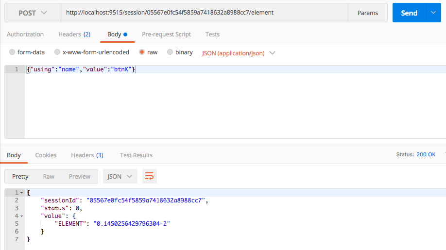 Browser automation using ChromeDriver and Postman